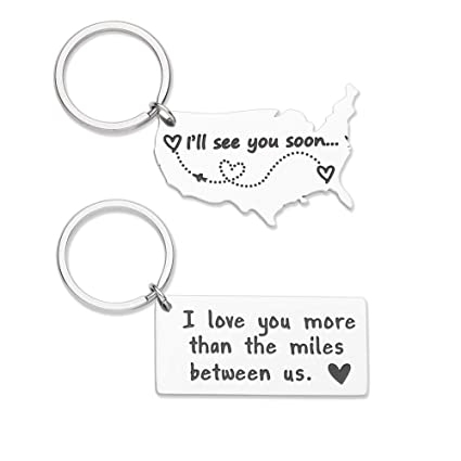 Long Distance Keychain Gifts For Boyfriend Girlfriend Going Away Gift Couple Christmas Anniversary Birthday Valentine
