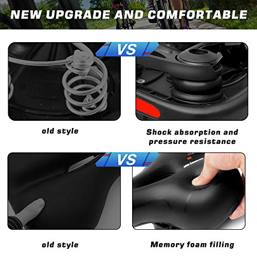 Comfortable Bike Seat Cushion for Womenand Men BreathableBicycle Seat with Reflector Short WaterproofBicycle Saddlewith Dual Shock Absorbing Rubber Balls Universal Fit for Indoor/Outdoor Bikes