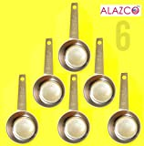 ALAZCO COFFEE MEASURING SCOOP 1/8 CUP Stainless Steel - Kitchen Baking Measure Spice Herbs Sugar Flour Cocoa Powder Salt (6pc Stainless Steel)