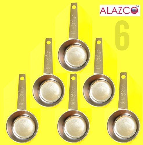 ALAZCO COFFEE MEASURING SCOOP 1/8 CUP Stainless Steel - Kitchen Baking Measure Spice Herbs Sugar Flour Cocoa Powder Salt (6pc Stainless Steel) by ALAZCO