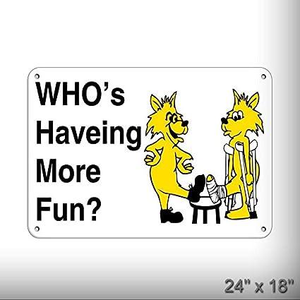 amazon com new who s having more fun hazard sign safety slogans