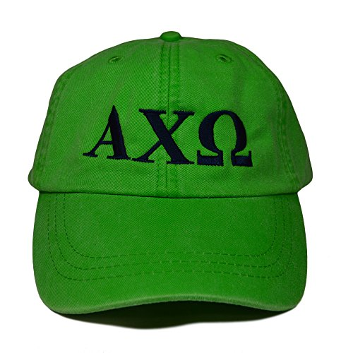 Alpha Chi Omega Sorority Baseball Hat Cap Designer Greek Letter Design Sorority Sports Cap Neon Green Hat with Navy Thread Standard Size Adjustable Leather Strap AXO (Berry Green New Chapter)