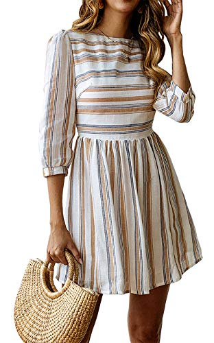 (BTFBM Women Summer Dresses Casual Striped Half Sleeve A Line Short Dress (Yellow & Blue Striped, Medium) )