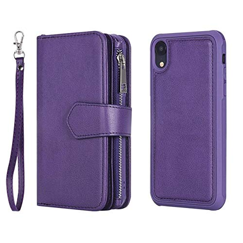 - iPhone XR Case, iPhone XR Wallet Case, Premium Synthetic Leather Flip Credit Card Holder Purse Wristlet [Wrist Strap] Ladies Full Body Rugged Shockproof Wallet Phone case for Apple iPhone XR (Purple)