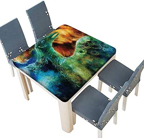 PINAFORE Printed Fabric Tablecloth Mythical Legendary Phoenix Rebirth New Life from The Ashes Sun Exceptio Washable Polyester 33.5 x 33.5 INCH (Elastic Edge)