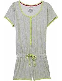 Womens Gray & White Striped Henley Romper Pajama Jumper PJ Sleepwear