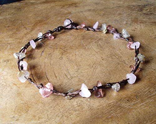 Rose quartz stone leather anklets men anklets women anklets gift anklets fashion anklets boy anklets girl anklets