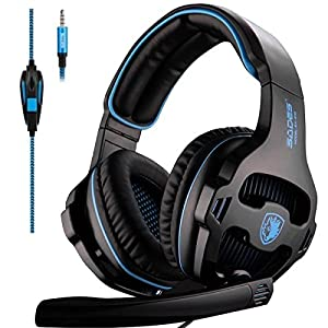 Sades SA810 Stereo 3.5mm Wired Gaming Headset Headphones with Mic Volume Control for PS4 Xbox One PC Mac Laptop Phone