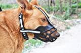 SLZZ Soft Adjustable Silica Gel Dog Muzzle - Anti-Barking Chewing Biting Breathable Dog Basket Muzzle - Heavy Duty Durable Reflective Safety Dog Muzzle for Small Medium Large Dogs - Black,M