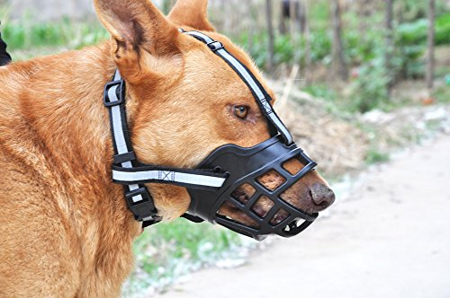 SLZZ Soft Adjustable Silica Gel Dog Muzzle - Anti-Barking Chewing Biting Breathable Dog Basket Muzzle - Heavy Duty Durable Reflective Safety Dog Muzzle for Small Medium Large Dogs - Black,M by SLZZ