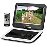 UEME Portable DVD Player, Portable CD Player with 10.1 inches Screen & Car Headrest Holder & Remote Control & Wall Charger Car Charger, Personal DVD Player PD-1010 (White)