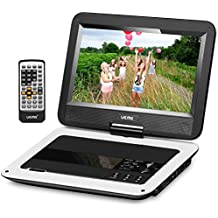 """UEME 10.1"""" Portable DVD Player CD Player with Car Headrest Holder, Swivel Screen Remote Control Rechargeable Battery Car Charger, Personal DVD Player PD-1010 (White)"""