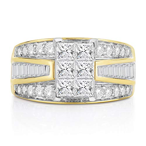 14K Yellow Gold 2 Carat Diamond Princess, Round and Baguette Diamond Engagement Ring, Sizes(6)