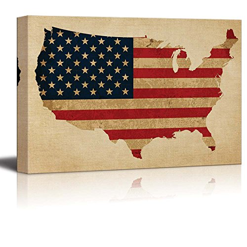American Flag Over a Map of the United States of America Over a Vintage Texture Nature