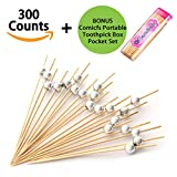 Comicfs Cocktail Picks Handmade Bamboo Toothpicks 4.7'' Party Supplies 300 Counts BONUS Comicfs Portable Toothpick Box Pocket Set, Silver Pearl - 31A