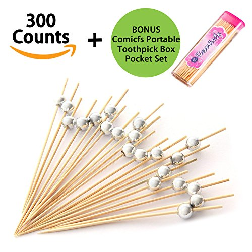 Comicfs Cocktail Picks Handmade Bamboo Toothpicks 4.7'' Party Supplies 300 Counts BONUS Comicfs Portable Toothpick Box Pocket Set, Silver Pearl - 31A by Comicfs