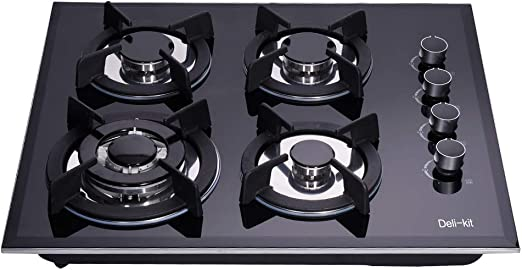 Deli-Kit DK145-B01S 24 inch 4 Burners gas cooktop gas hob stovetop LPG//NG Dual Fuel 4 Sealed Burners brass burner Kitchen Slope Edge Tempered Glass Built-in gas Cooktop 110V AC pulse ignition