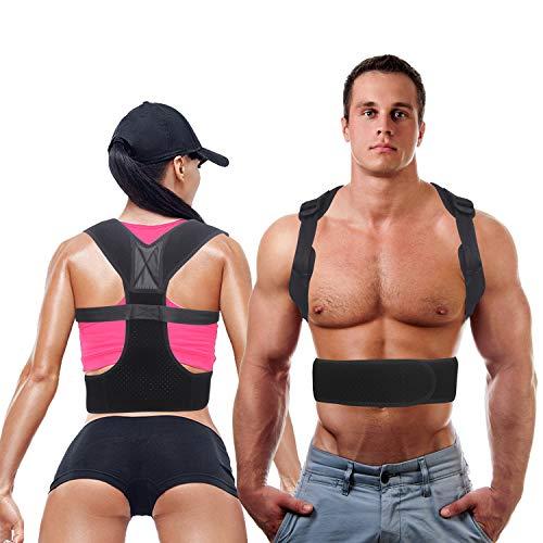Posture Corrector for Women & Men Under Clothes Adjustable Shoulder Belt for Slouching & Hunching Upper Back Brace Posture Clavicle Strap Pain Relief (Black, B)