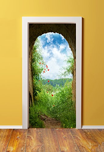 Windowpix DoorPix 36x80 / 36 x 80 3D Door Mural Wrap Glossy Bubble Free Sticker Tuscan Stone end of The Tunnel View - Peel and Stick - Easy-to-Clean, Durable