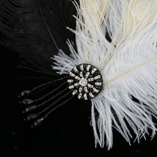 Wedding Bridal Feather Headband 20s Gatsby Crystal Forehead Fascinator Gift
