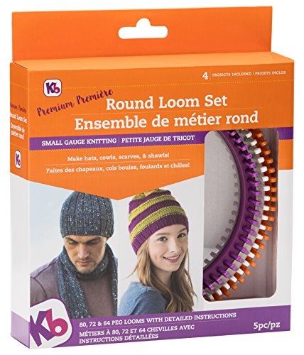 Best Authentic Knitting Board Premium Round Loom Set, Purple, Orange/Gray