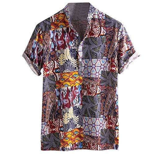 Misaky Men's Dress Shirt Summer Hawaiian Casual Cotton Buttons Short Sleeve Tops Blouse Tee(Red, XL)