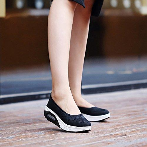 Enllerviid Vrouwen Atletische Slip Op Platform Fitness Toning Sneakers Shape-up Wandelschoenen 2963 Zwart