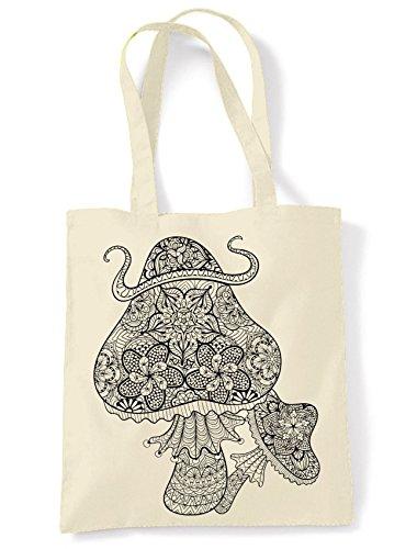 Mushrooms Print Magic Large Bag Cream Shopping Shoulder Tote Mushrooms Magic fwxInqEdwa