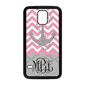 Hot Pink Chevron Gray Anchor Gray Retro Pattern Monogram Personalized Custom Phone Case Best Rubber and Plastic Cover For Samsung Galaxy S5 hjbrhga1544