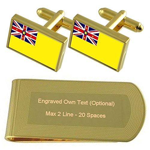 Niue Flag Gold-tone Cufflinks Money Clip Engraved Gift Set