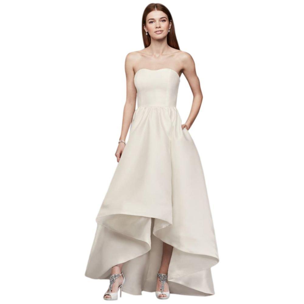 David\'s Bridal Mikado High-Low Wedding Dress Style SDWG0576 at ...