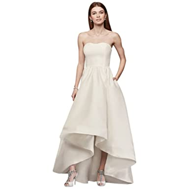6ce16ae9f0 David s Bridal Mikado High-Low Wedding Dress Style SDWG0576 at Amazon  Women s Clothing store