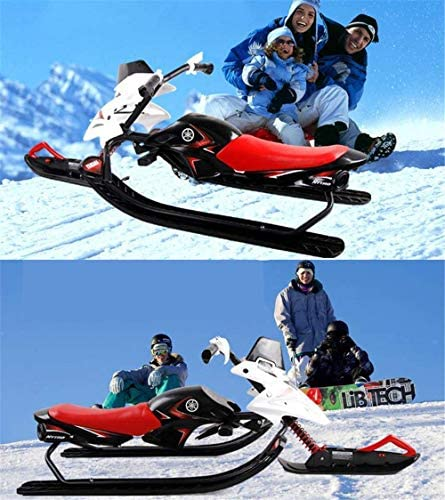"""ZQTHL Snow Racer Sled, 49"""" Ski Slider Board with Steering Wheel, Twin Brakes, Snow Sledge Car Winter Racing for Kids Age 4 & up, Holds Two Children/a Teenager"""