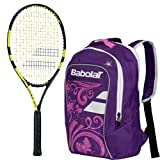 Babolat Nadal Junior 26'' Tennis Racquet (Yellow/Black) bundled with Girl's Club Tennis Backpack (Purple)