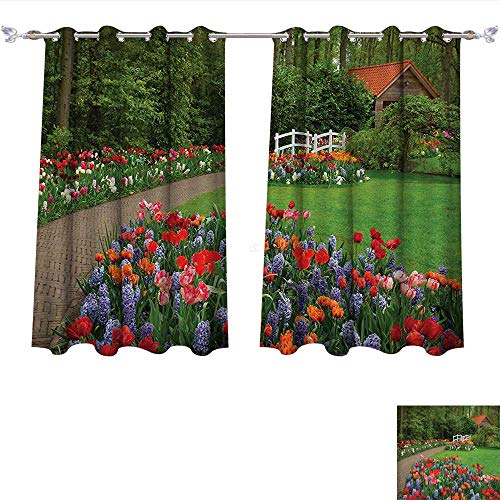 Qinqin-Home Blackout Window Curtain Country A Spring Garden with Forest Hut Small Bridge Plants Flowerbeds and Walkway Green Purple Customized Curtains (W55 x L72 -Inch 2 Panels)