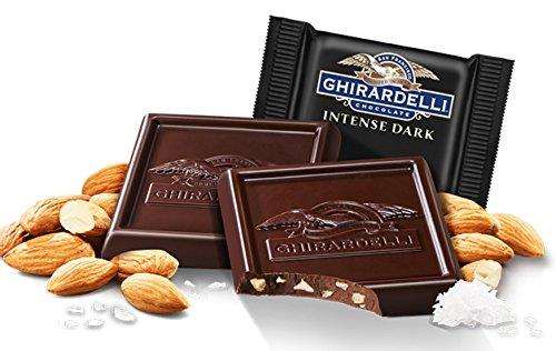Ghirardelli Bulk Intense Dark Chocolate Sea Salt Roasted Almond Square (3 pound)