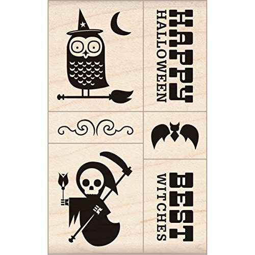 (Inkadinkado Halloween Mounted Rubber Stamp, 2.75 by 6.5-Inch, Mod Halloween)