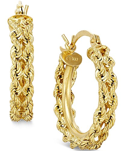 14k Gold Rope Hoop Earrings - 14K Yellow Gold Rope Chain Hoop Earrings
