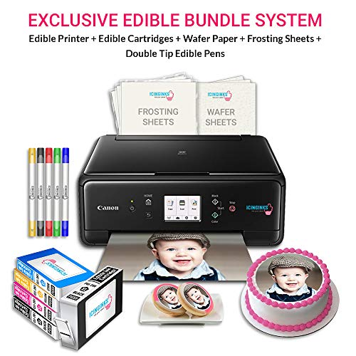 Icinginks Canon Edible Printer Art Package includes Edible Printer, Edible Cartridges, Wafer Paper, Frosting Sheets, Set of 5 Double Tip Edible Markers - Best Cake Image Printer Exclusive Bundle (Best Edible Ink Printer)