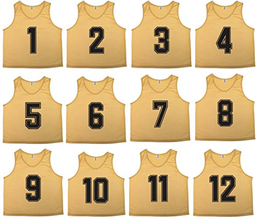 Oso Athletics Sets of 12 (1-12, 13-24) Premium Polyester Mesh Numbered Jerseys/Scrimmage Vests/Pinnies with Carrying Bag for Children, Youth and Adult Team Sports Soccer (Gold (#1-12), - Gold Soccer Uniform