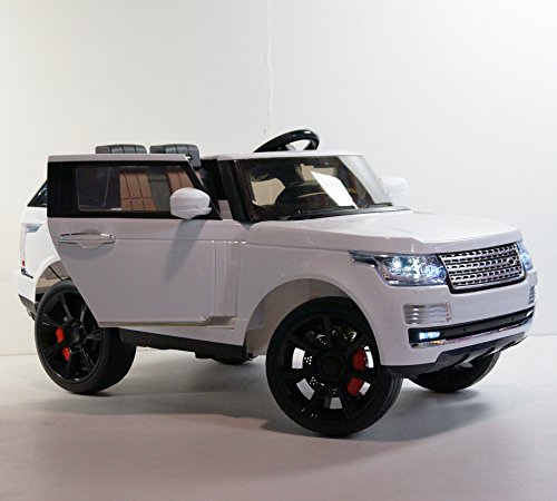 LARGE POWERFUL! RANGE ROVER style WHITE! REAL RUBBER WHEELS! With double Motors! WITH REMOTE CONTROL ELECTRIC CAR high speed 5,5 km/h! Ride on toy car from two - Motor Real Electric