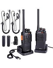 Walkie Talkie Profesional, TACKLIFE-MTR01 Talkie walkie Recargable 3-4 Km con 16 Canales, PMR 446 MHz, 2 Auriculares y Cargador USB