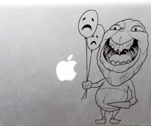Creepy Smile Balloon Boy Guy with Knife and Sad Balloons MacBook Laptop Vinyl Decal -