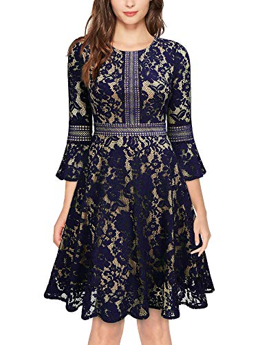 MISSMAY Women's Vintage Full Lace Contrast Bell Sleeve Big Swing A-Line Dress, Large, Navy Blue