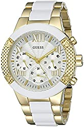 GUESS Women's U0770L1 Trendy White and Gold-Tone Chrono-Look