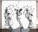 Ambesonne Jazz Music Decor Collection, Sketch Style of a Jazz Band Playing Music with Instruments and Musical Notes Print, Living Room Bedroom Curtain 2 Panels Set, 108X84 Inches, Black White For Sale