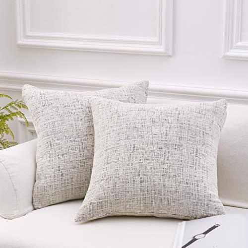 Chenille Square Throw - MoMA Decorative Striped Chenille Throw Pillow Covers (Set of 2) - Pillow Cover Sham Cushion Cover - Decorative Sofa Throw Pillow Cover - Square Decorative Pillowcase - White - 18