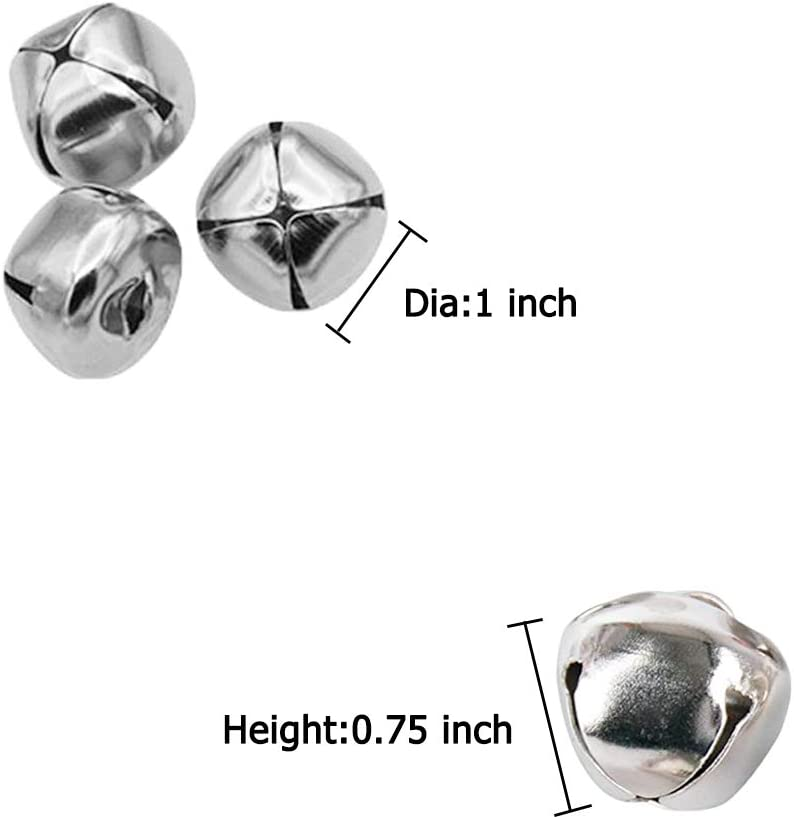 100 Pcs 1 Inch Jingle Bells,Small Bell Craft Bells,Christmas Bells for Christmas,Party and Festival Home Decoration,DIY Wreath,Silver