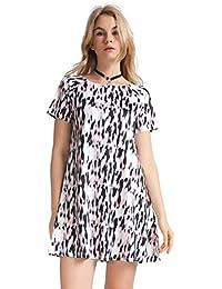 Women's Leopard Print Tee Shirt Shift Jersey Street Style Dress