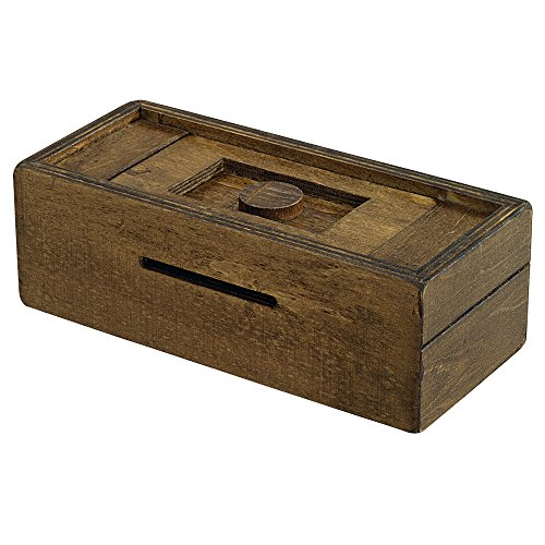 Bits and Pieces - Stash Your Cash - Secret Puzzle Box Brainteaser - Wooden Secret Compartment Brain Game for Adults